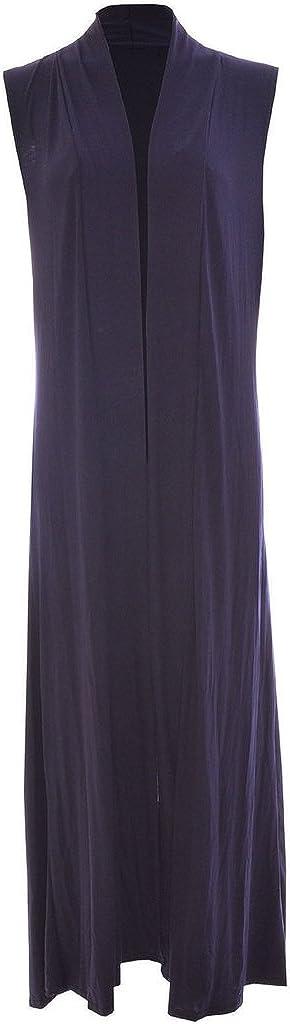 RM Fashions Women's Long Maxi Open Sleeveless Top Jacket Collar Plain Cardigan