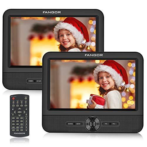 FANGOR Reproductor de DVD Portátil con 2 Pantallas 7.5' para Reposacabeza de Coche Soporta Tarjeta SD/USB con Cargador de Coche Mando a Distancia