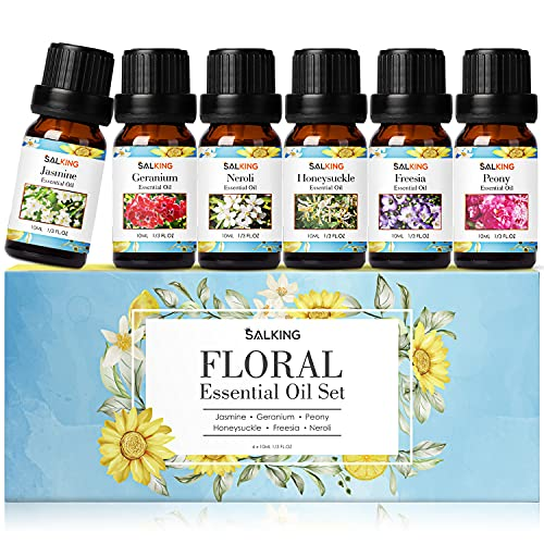 SALKING Flores Aceites Esenciales para Humidificador Difusor 6 x 10 ml,100% Puro Aceites Esenciales Naturales Aceite Perfumado - Jazmín, Neroli, Madreselina, Peonía, Geranio, Fresia