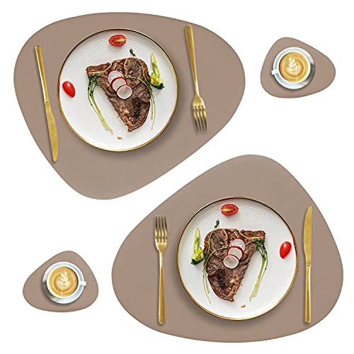 Faux Leather Placemats and Coasters Set of 2, Round Leather for Dinner Table Mats Heat Resistant Non-Slip Washable Insulation Coffee Mats Kitchen Place Mats Nordic Style,Apricot