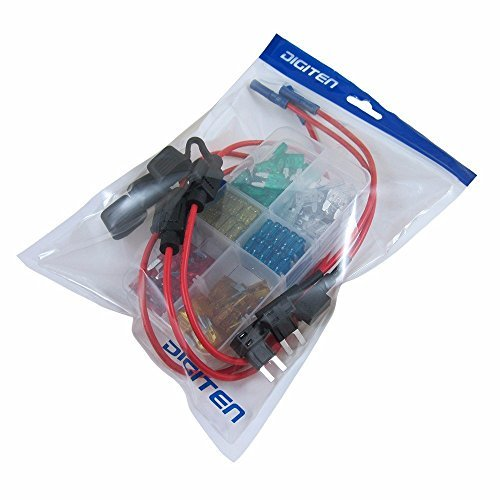 DIGITEN Auto Mini Blade Type ATM Fuse Assorted + Inline 16 AWG Gauge Holder+ Add-a-circuit TAP Adapter