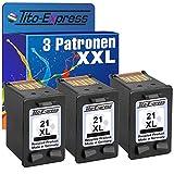 platinumserie–Juego de 3cartuchos de tinta para HP 21XL Black Deskjet D1560PSC 1402PSC 1410PSC 1415