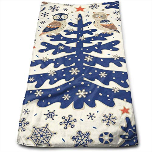 Christmas Owls Stars Gray Snowflake Extremely Soft Hand Towels Winter Forest Animals Xmas Tree Kitchen Towel 11.8 X 27.5 Inch Super Absorbent Bath Towel For Women Men Kids Swimming Hiking Travelling
