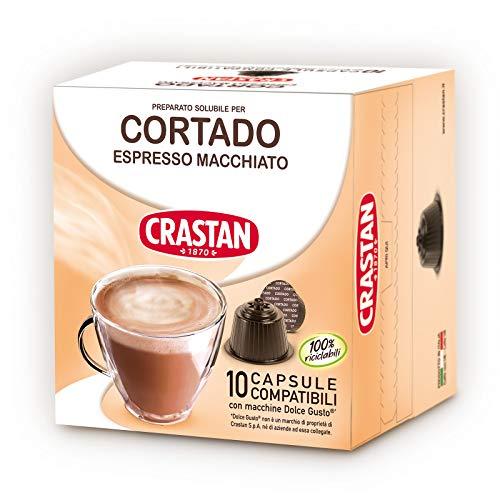 Crastan Capsule Compatibili Dolce Gusto Caffè Cortado Espresso Macchiato - 10 Confezioni da 10 Capsule [100 Capsule]