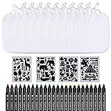 APOGO Lätzchen zum Bemalen, 10 Stück weiß mit 24 Textilstiften und 4 Schablonen