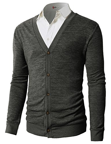 H2H Mens Casual V-Neck Long Sleeves Cardigan Sweater Charcoal US M/Asia L (CMOCAL019)