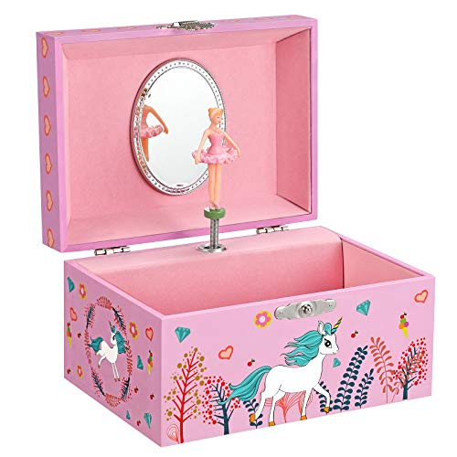 SONGMICS Caja Joyero Musical para Niños, Caja de Música, con Bailarina, Compartimento Espacioso, Espejo, Melodía del Unicornio, Idea de Regalo, Rosa JMC020PK