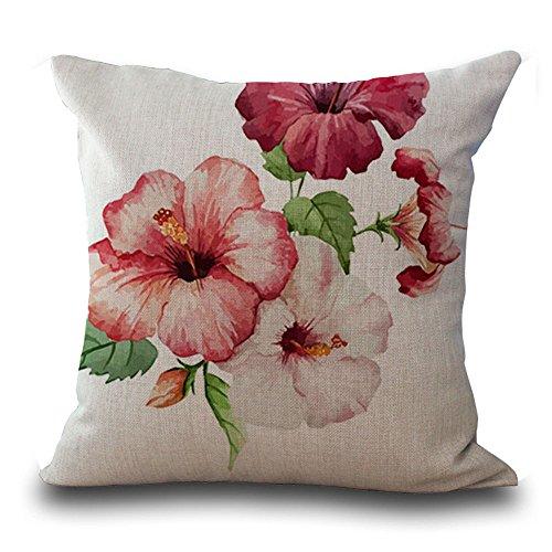 Fodere per cuscini 45cmx45cm/18x 18Flower Series Ink painting rose Flowers Rhododendron peonia fiori orchidee in cotone e lino cuscino per divano my-p1025–01 #02
