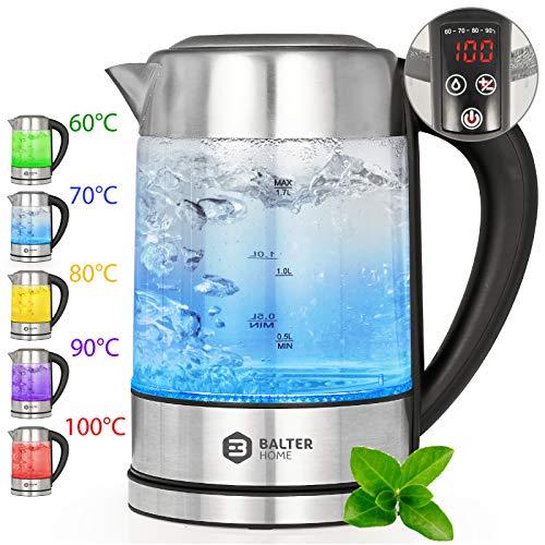 Balter WK-2T LCD Wasserkocher mit Temperaturwahl 60-100C° ✓ Warmhaltefunktion ✓ aus Edelstahl und Glas BPA FREI ✓ 2200W ✓ 1,7 Liter