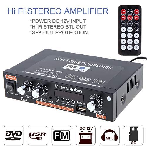 Amplificador de Potencia de Audio para Coche, Reproductor de Radio FM, Compatible con SD/USB/DVD/MP3 con Mando a Distancia para Coche, Motocicleta, hogar, Bluetooth, HiFi