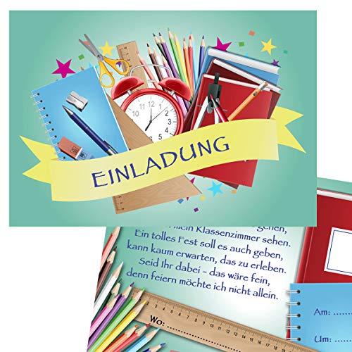 KREATIVES HERZ Einladungskarten zu Einschulung neutral Stifte Mint (10er Set) A6 Karten für Mädchen und Jungen Einladungen für Schulanfang (10 Karten)