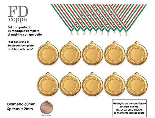 FDCOPPE MEDAGLIA in Metallo Diametro 60mm Colore Oro Set 10 Pezzi Complete di NASTRINI ED Incisione Personalizzata