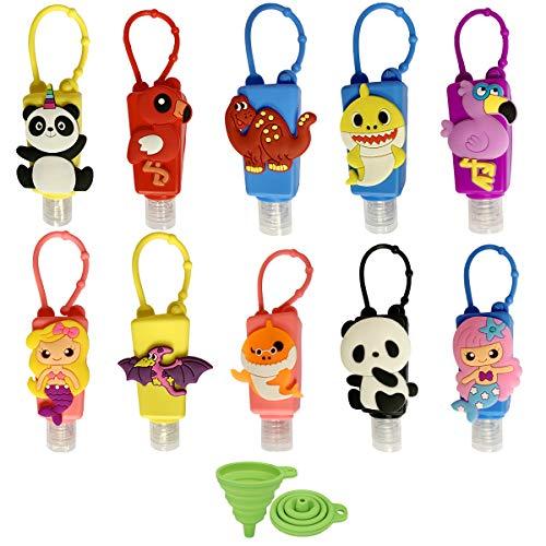 DARUNAXY Mini 30ml Silicone Bottles Holder Detachable Assorted Kids Cartoon Animals Travel Portable Plastic Leak Proof Bottles Keychain Carriers-Random Colors/Without Liquid(10 Pcs)