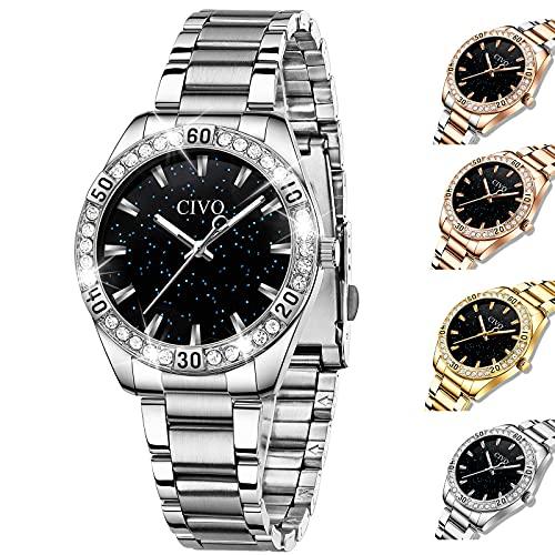 CIVO Damen Uhren Edelstahl Sternenhimmel Designer Analoge Quarz Uhr Damen Wasserdicht Silber Elegant Armbanduhr für Damen Mädchen
