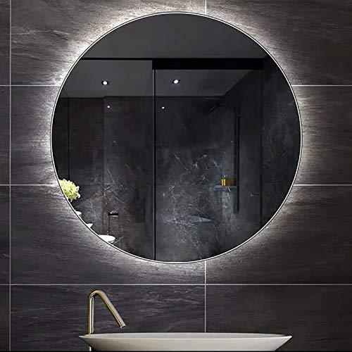 Espejo de Baño LED Espejo de Baño Iluminado Montado en la Pared Redondo, Grande Retroiluminado, Iluminado, Maquillaje, Espejo de Tocador, Impermeable, IP44