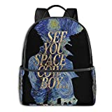 IUBBKI Mochila lateral negra Mochilas informales See You Space Cowboy Starry Night Student School Bag School Cycling Leisure Travel Camping Outdoor Backpack
