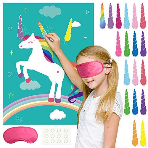 FEPITO Pin The Horn en el Juego de Fiesta de cumpleaños de Unicornio con 24 Cuernos para Suministros de Fiesta de Unicornio, Decoraciones de Fiesta de cumpleaños para niños