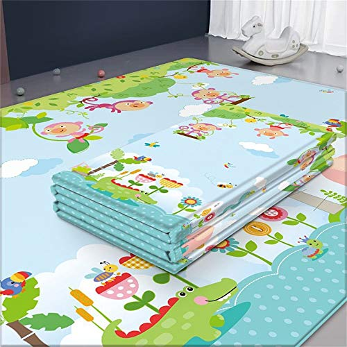Arkmiido Alfombra de juego para bebés, Alfombrilla impermeable no tóxica plegable extra grande para niños, 197 x 177 x 1 cm, Material XPE (Verde)