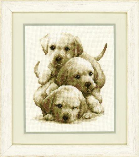 Vervaco - Kit para Cuadro de Punto de Cruz, diseño de Perros Labrador