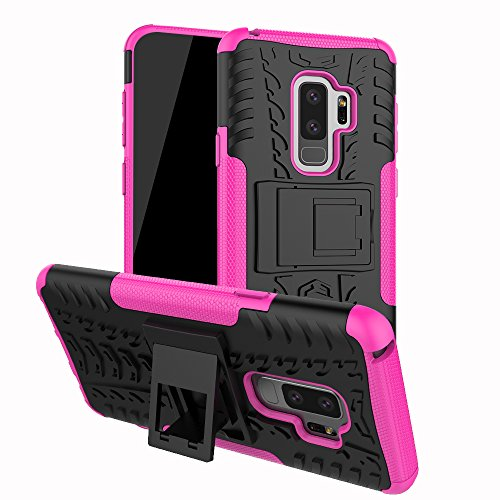 FOLICE Samsung Galaxy S9 Plus Case Tough Rugged Dual Layer Protective Case with Kickstand (Pink)