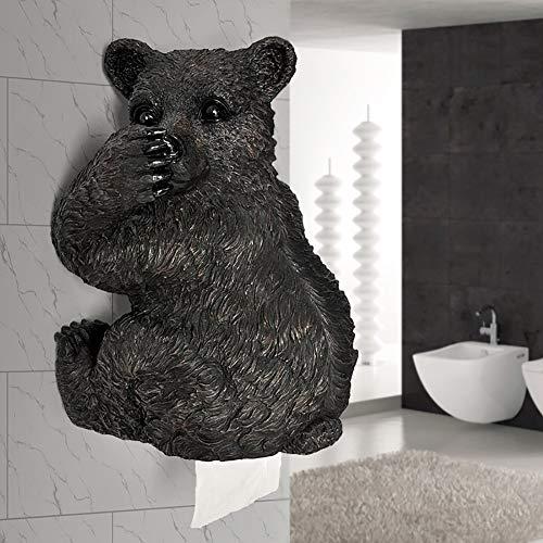 YAOJP Papierrollenhalter Wandmontage Naturharz Klopapierhalter Kreativ Bär Toilettenpapier Halterung Geeignet für Schlafzimmer Nacht Küche Bad,Schwarz