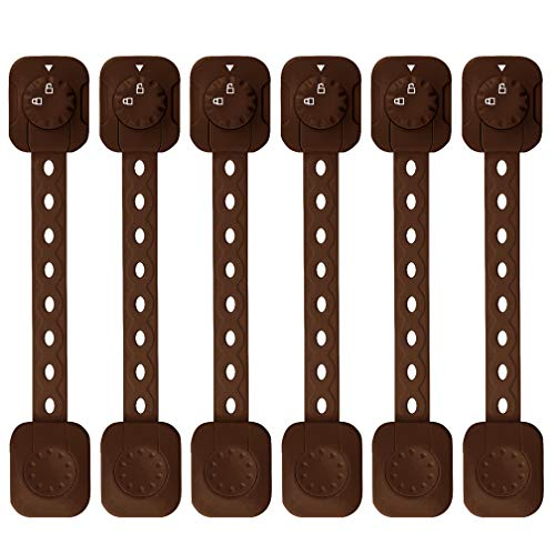 6 Pack Child Safety Locks, SACONELL Baby Proofing Cabinet Locks with Adjustable Strap, Upgraded Self Adhesive Double Lock and Latch System for Drawers, Cupboards, Fridge, Toilet Seats, Oven(Brown)
