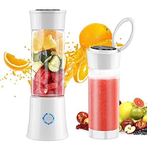 CDPC Draagbare blender, fruitmixer met 480 ml BPA-vrije reisfles, 4000 mAh oplaadbare batterij & 6-Blade mini persoonlijke blender voor sap, smoothie en milkshake