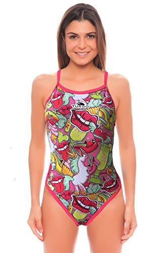 Turbo Sport-Badeanzug Damen und Mädchen Scandal Revolution Schwimmanzug mit Einhorn pink Pastell (Gr. 36 / Turbo XL)