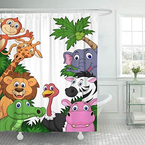 Brandless Jungle Wild Animal Cartoon Safari Lion Zoo Adorable Cocodrilo Cortina de Ducha Impermeable Poliéster-El 180x180cm