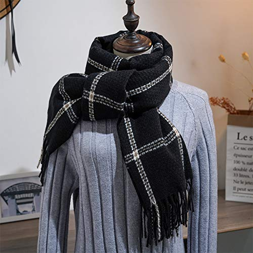 Bufanda a Cuadros de Cachemira de imitación Femenina Bufanda de Borla Larga y cálida mantón Dulce Hembra
