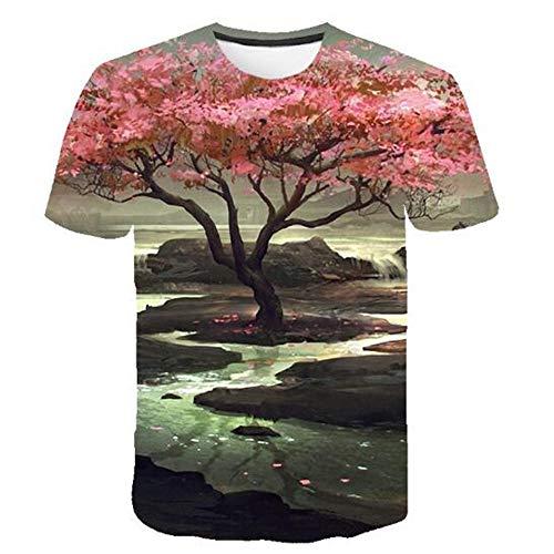 Camiseta Estampada De Flores Marinas En 3D De Manga Corta Refrescante Y CóModa Cuello Redondo Suelta Camiseta Casual para Hombre