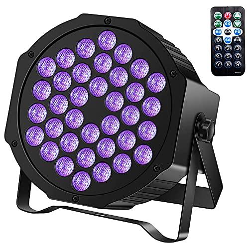 UKing Luces Negras UV 36 LED x 3W Luz Negra de Etapa con IR Rmoto y DMX Controlado Lampara Ultravioleta para Fiesta Bar Discoteca Partido Luz de Escenario Neon