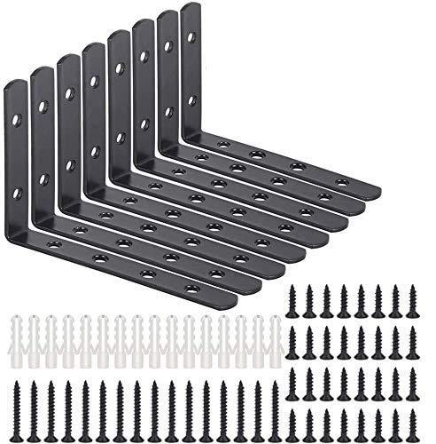 ASelected 8 Pcs Équerre Etagere Noir en Form L 125 x 75 x 20MM avec 48 Pcs vis, 90 Degrés Support Mural en Equerre Murale pour Etagère de Bois Meuble Chaise Table