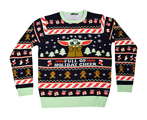 STAR WARS The Mandalorian The Child Holiday Sipping Hot Chocolate Sweater(Black,X-Large)