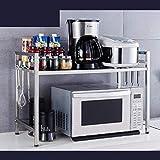 PanYFDD - Estante de cocina de acero inoxidable con 2 pisos y encimeras de almacenamiento retráctil de 55 a 85 cm
