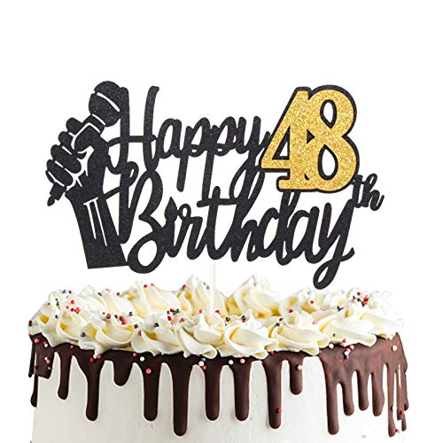 Happy 48th Birthday Cake Topper with Microphone Cheers to 48 Years Old Party Decoration Forty-eighth Birthday Decor