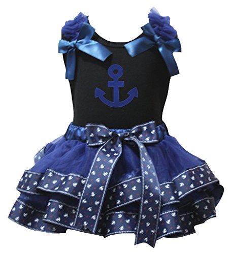 Petitebelle blauwe anker zwart shirt zeeman marine bloemblaadjes rok Nb-8y