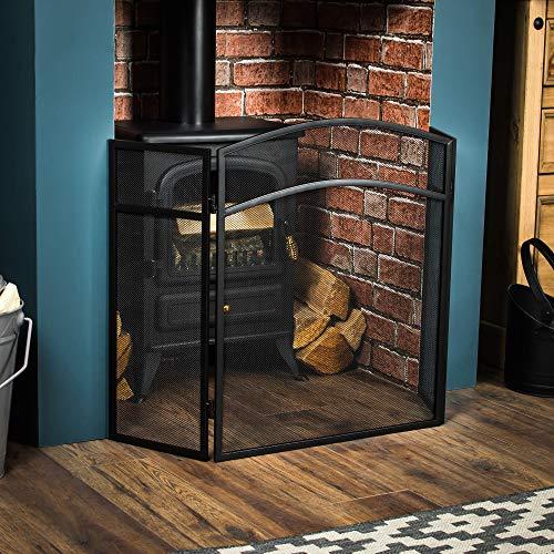 Home Discount Fire Vida Milton Fire Screen Spark Guard Arched, Black