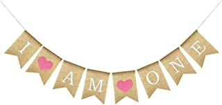 Uniwish I Am One Banner Baby Girl First Birthday Party Decorations, Vintage Rustic Burlap Bunting with Pink Hearts