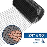 Fencer Wire 16 Gauge Black Vinyl Coated Welded Wire Mesh Size 1 inch by 1 inch...