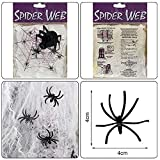 MAXEE Spinnennetz 2 Pcs(80G Weiß Baumwolle 20 Spinnen) Halloween Spinnennetz Spinnennetz Deko Halloween Dekoration Satz for Halloween Party - 2