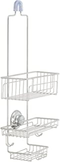 Gecko-Loc 🦎 Over The Shower Head Medium Height Shower Caddy Organizer with Super Suction Cup & Shower Head Hanger - Stainless Steel Rustproof - Adhesive Disk Now Included