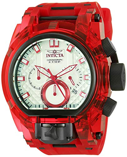 Invicta Men's Bolt Stainless Steel Quartz Watch with Silicone Strap, Red, 35.5 (Model: 29996)