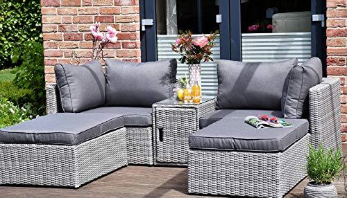 Outzone ErholDich 2-Sitzer Garten Loungemöbel, Aluminium, Polyrattan mit Tisch, platzsparend verstaubar Bequeme Polster in anthrazit