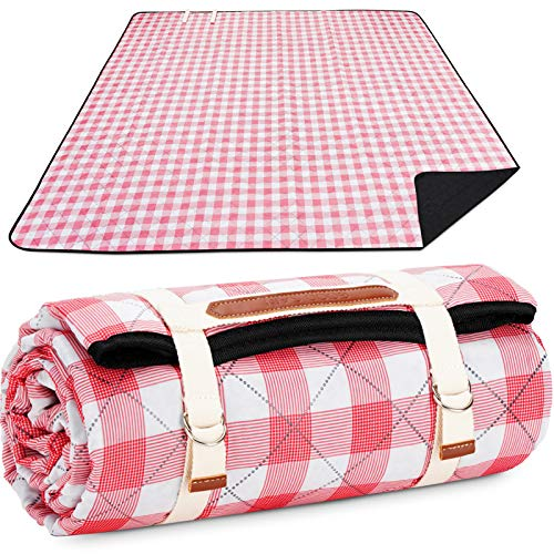 Picnic Blanket Machine Washable, Extra Large Beach Blanket, Plus Thick Dual Layers Sandproof Waterresistant Padding with...