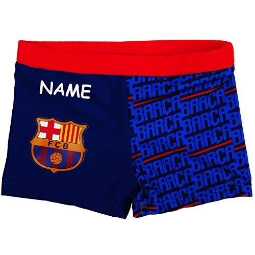 alles-meine.de GmbH Badehose / Badeshorts - Fußball - FC Barcelona - FCB - incl. Name - Größe 4 bis 5 Jahre - Gr. 110 bis 116 - für Jungen Kinder Badepants - Boxershorts Shorts m..