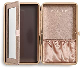 Dollup Case Makeup Organizer (Rose Gold) - Features Empty Magnetic Palette, Foldaway Vanity Mirror + Accessory Pocket. Perfect travel makeup compact.