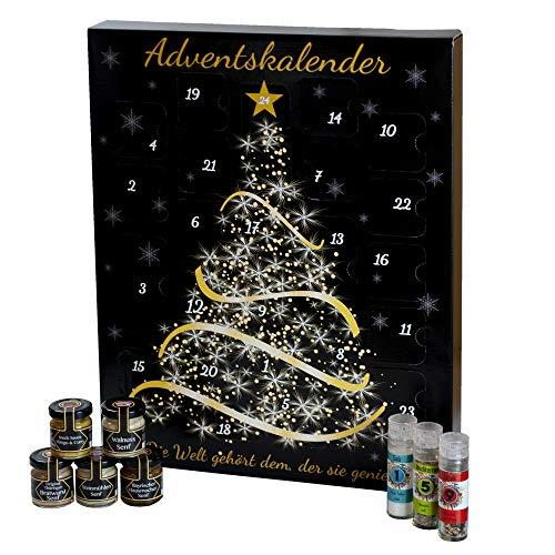Feinkost Adventskalender für erwachsene Frauen und Männer, Weihnachtskalender mit hochwertigen Gewürzen, Senfsorten, Salzen und Frucht-Meerrettichen, in liebevoller Handarbeit gefüllt