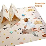Baby Play Mat, Extra Large Baby Crawling Mat, Portable Waterproof Non Toxic Soft Foam, Anti-Slip Folding Puzzle Mat Playmat for Infants, Toddlers, Kids, Indoor or Outdoor Use, 77x70 inch