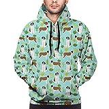 Carwayii Saint Bernard Dog Breed Cactus Men Hoodie Long Sleeve Sweatshirt Boys Jacket With Pockets Black